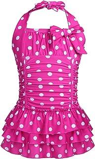 ملابس سباحة للأطفال والبنات من Choomomo برقبة على شكل نقاط كبيرة مطبوعة على شكل ثوب سباحة مع فيونكة للجمباز