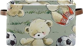 PUXUQU Panier de rangement pliable en forme d'ours en peluche avec poignées - Panier de rangement pour jouets, bureau, cha...