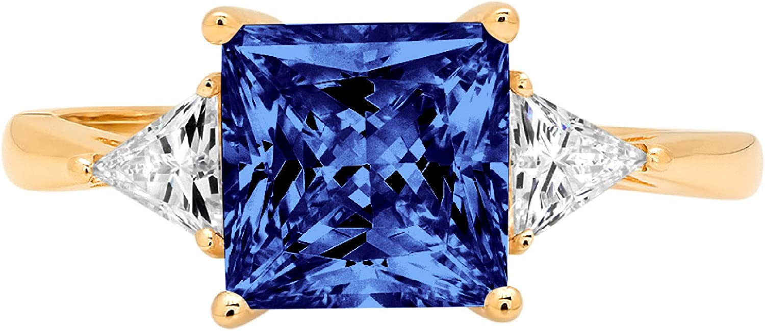 2.45 ct Princess Trillion cut Accent 3 Stunning stone Solitaire Same day shipping Boston Mall