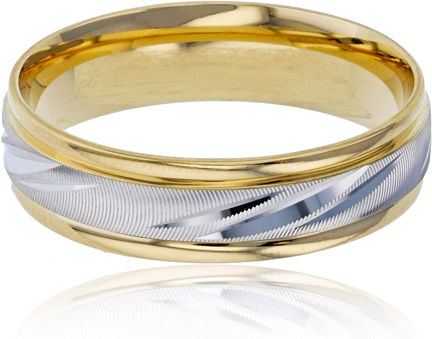 14K Two-Tone Gold 6mm Max 75% OFF Diamond Cut Engraved Austin Mall Feel Comfort Textured