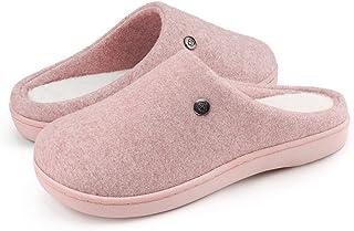 NANBERONE Women Memory Foam Slip On Bedroom Slippers with Fuzzy Wool-Like Fleece Insole Indoor Outdoor Anti-Slip House Sli...