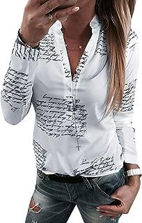 Phoenix_us WLLW Women Letter Print Button V Neck Long Sleeve Shirts Blouse