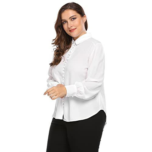 82597dfb70fd Women's Plus Size Classic Chiffon Long Sleeve Curved Hem Button Down Blouse  Solid Shirt Tops
