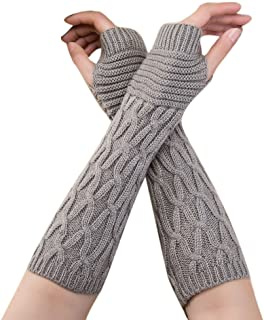 Women Winter Gloves Wrist Arm Warmer Knitted Long Fingerless Gloves Fashion Solid Crochet Gloves Hole Mittens