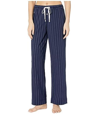 LAUREN Ralph Lauren Cotton Polyester Jersey Separate Long Pants (Navy Stripe) Women