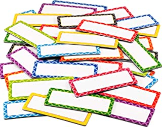 Magnetic Dry Erase Labels Name Plate Labels Writable Flexible Magnet Name Tags in 3 x 1.2 Inches for Home Office Whiteboards Refrigerator (Color B, 40 Pieces)