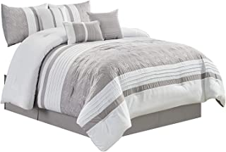 Yaki 7 Pieces Luxury King Size Comforter Set, Enjoy The Beautiful Design in Silver and White with The Luxurious Comfort Feeling. The Set Includes Comforter, Skirt, Throw Pillows, Pillow Shams.