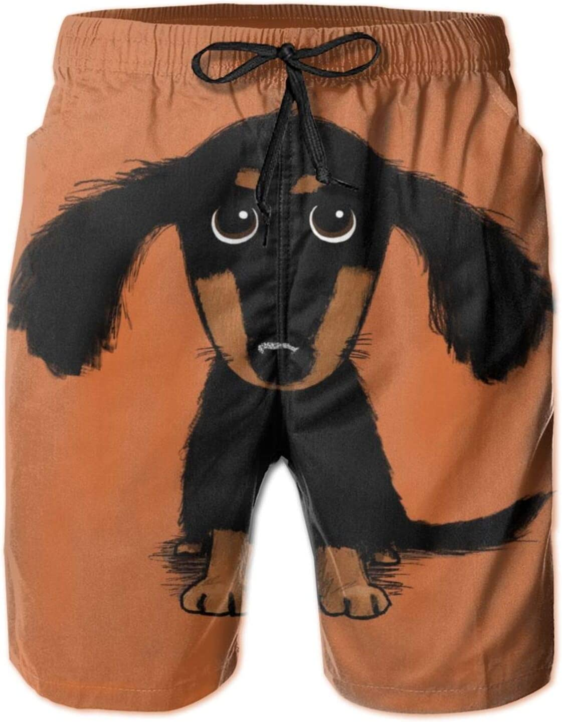 SWEET TANG Mens Beach Board Shorts Swim Trunks, Wiener Long Haired Dachshund Dog Weiner Funny Cute Sports Running Swim Board Shorts with Mesh Lining and Pocket for Beach Sports Running