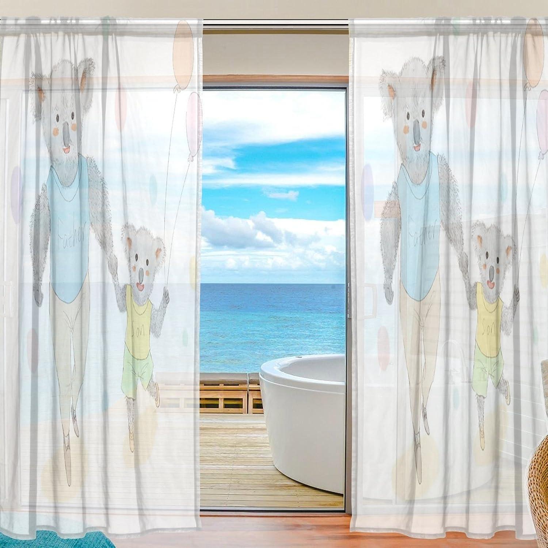 a la venta Mnsruu ISAOA - Cortina de Gasa para decoración de Dormitorio Dormitorio Dormitorio o Sala de Estar, diseo de Oso de Padre e Hijo, 2 Unidades, poliéster, Varios Colors, 55x84x2(in)  marca famosa