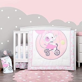 TILLYOU Luxury 4 Pieces Elephant Crib Bedding Set (Embroidered Crib Comforter, Crib Sheets, Crib Skirt) - Microfiber Printed Nursery Bedding Set for Girls Boys - Pink Elephant