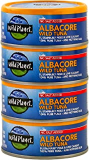 Wild Planet Albacore Wild Tuna, No Salt Added, Wildly Delicious - Pole & Line Caught,