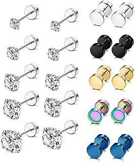 YADOCA 10 Pairs Screw Stud Earrings Flat Back Black Earrings for Men Mix Color Helix Cartilage Barbell Earrings Plugs Tunn...