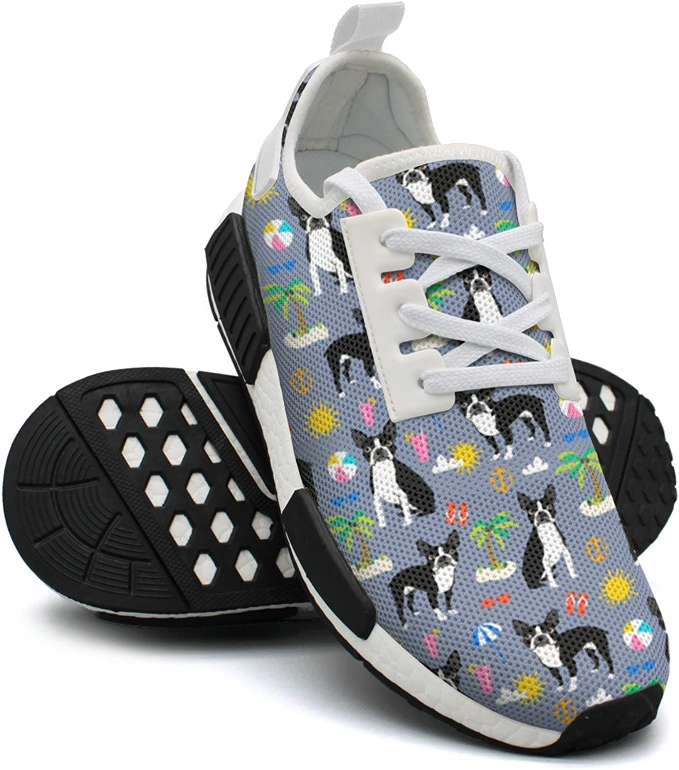 Boston Terrier Beach Summer Dog Women's Exclusive Lightweight Basketball Sneakers Gym Outdoor Gym shoes