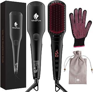 MiroPure cepillo para polvo alisador de pelo, cepillo para polvo de alisado iónico antiquemaduras, portátil, sin encrespam...
