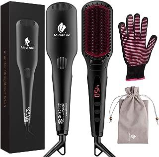 MiroPure Hair Straightener Brush, Ionic Anti-Scald Straightening Comb, Portable Frizz-Free Silky Electric Straightening Brush, Dual Voltage