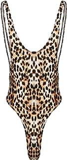 ranrann Mens One Piece Leopard Print Swimwear Bodysuit Backless High Cut Jumpsuit Leotard