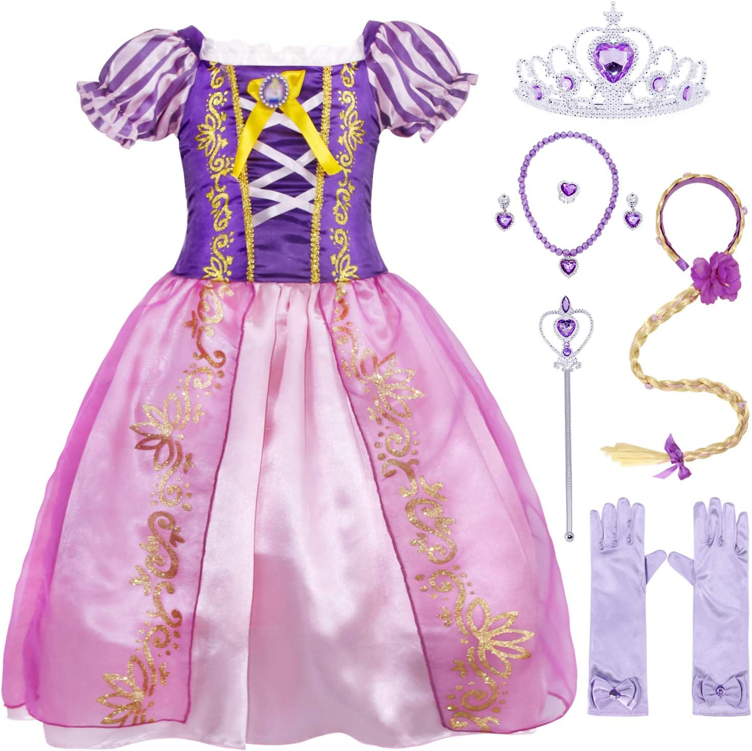AmzBarley Rapunzel Princess Dress Up Little Girls Cosplay Party Costume Halloween Role Play with Hair Purple 4t,2-3 Years