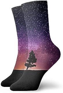 Kevin-Shop, Calcetines de Vestir para Hombres Tree Under Starry Sky Winter Warm Thick Impreso Casual Cosy Crew Calcetines