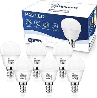 6X E14 P45 Bombilla de luz de tornillo Edison, Techgomade 5.5W High CRI 95+ Bombilla de pelota de golf, Bombilla incandescente equivalente de 50W, para sala de estar, dormitorio