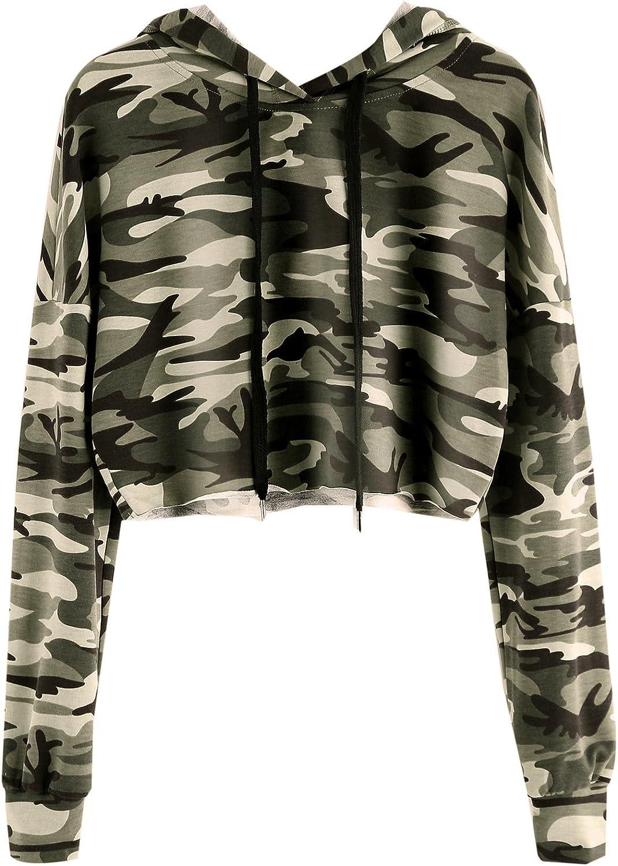 MakeMeChic Women's Camo Printed Long Sleeve Sweatshirt Crop Top Hoodies
