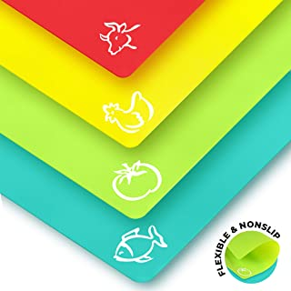 Plastic Cutting Boards for Kitchen – Quality Thin Cutting Mat Set 4 Color –..