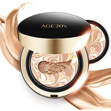 AGE 20's Signature Intense Full Coverage 71% Essence Cushion Foundation, Sunscreen Korean Makeup SPF 50+, Refill #21 Light Beige (0.49 oz x2 ea)