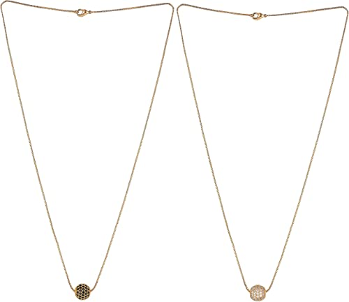 Brado Jewellery Gold Plated American Diamond Combo Of 2 Necklace Golden Chain Pendant for Women and Girls