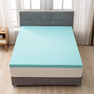 """mecor 2 Inch 2"""" 100% Gel Infused Memory Foam Mattress Topper-King Size Ventilated Design Pressure-Relieving Bed Topper w/CertiPUR-US Certified Foam, Blue"""