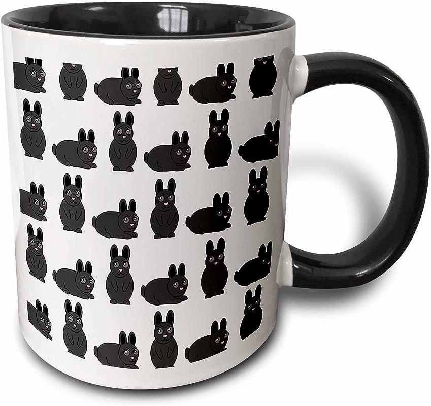 3dRose 25326 4 Cute Little Rabbit Grumpy Bunny Print Two Tone Black Mug 11 Oz Multicolored