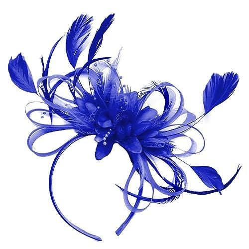 318693d2bd Royal Blue Feather Hair Fascinator Headband Wedding and Royal Ascot Races  Ladies