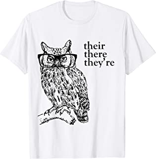 Their There They're Grammar Owl t-shirt