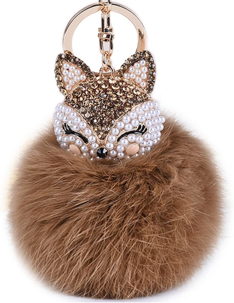 Boseen Genuine Rabbit Fur NEW before selling ☆ Ball Keychain fashion Max 49% OFF A Pom with
