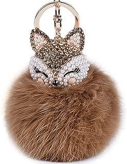 Boseen Genuine Rabbit Fur Ball Pom Pom Keychain with A fashion Alloy Fox Head Studded with Synthetic Diamonds(Rhinestone) for Womens Bag Cellphone Car Charm Pendant Decoration(Brown)