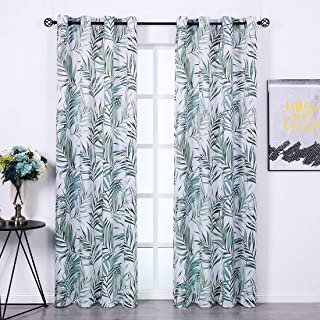 SHIELD CREATOR Blackout Curtains 2 Panels 52x63 Bamboo Leaves Print Curtains Thermal Insulated Grommets Drapes for Bedroom