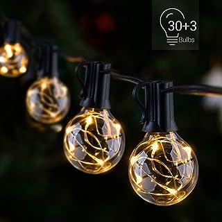 LED Outdoor String Lights - Novtech 38.5FT 30Bulbs G40 Globe String Lights - Waterproof Patio String Lights Outdoor Decorative String Lights for Backyard Bistro Porch Garden Cafe Party - UL Standard
