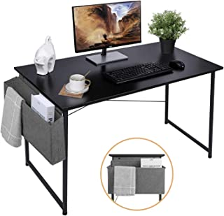 AuAg 47'' Computer Desk Home Office Desk with Storage Bag, Simple Writing Desk Work Desk, Black Modern Desk Office Table Sturdy Laptop Desk PC Gaming Desk Home Desk Workstation- Black Desktop