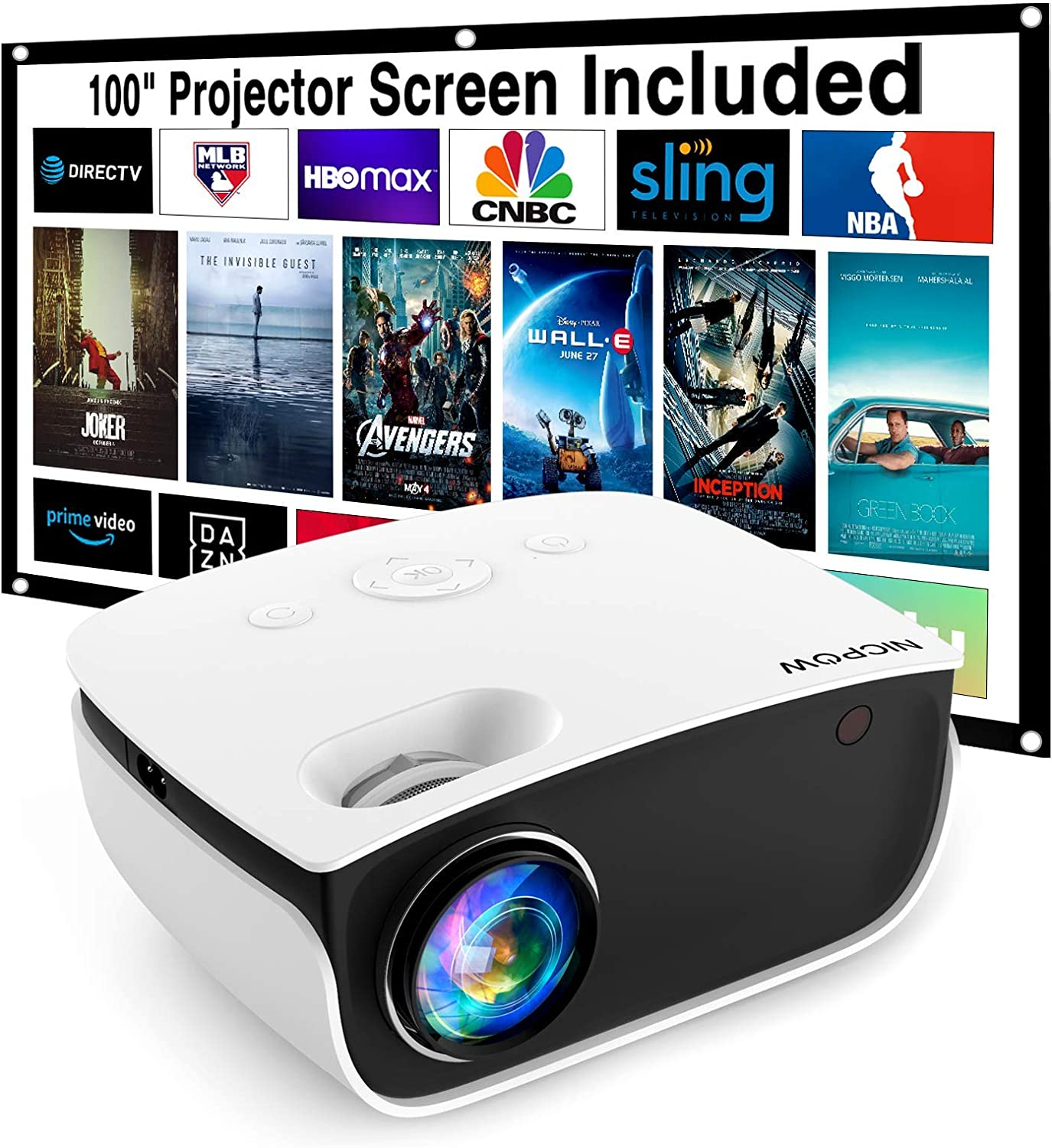 Video Projector,NICPOW 5500L Projector with 100Inch Projector Screen,1080P Supported Outdoor Movie Projector,Compatible with Fire Stick,PS4,HDMI,AV (Renewed)