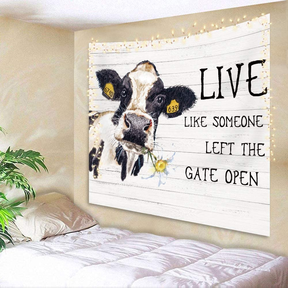 AMBZEK Farm Animal Cow Tapestry 51Hx59W Inch Farmhouse Watercolor Daisy Flower Funny Words on Rustic Wood Art Wall Hanging Bedroom Living Room Dorm Decor Fabric