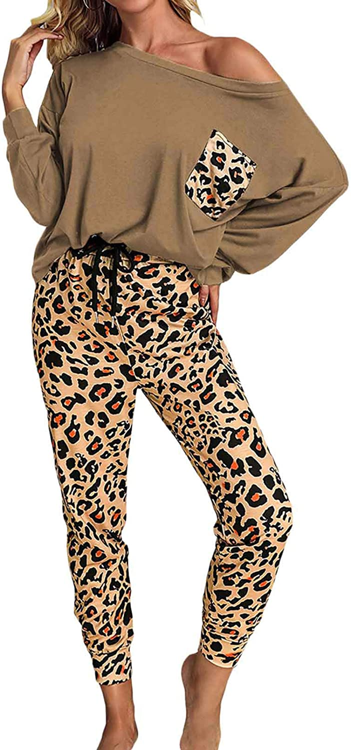 Women's Leopard Printed 2 Piece Long Sleeve Off Shoulder Pullover and Long Drawstring Pants Sweatsuit Tracksuit
