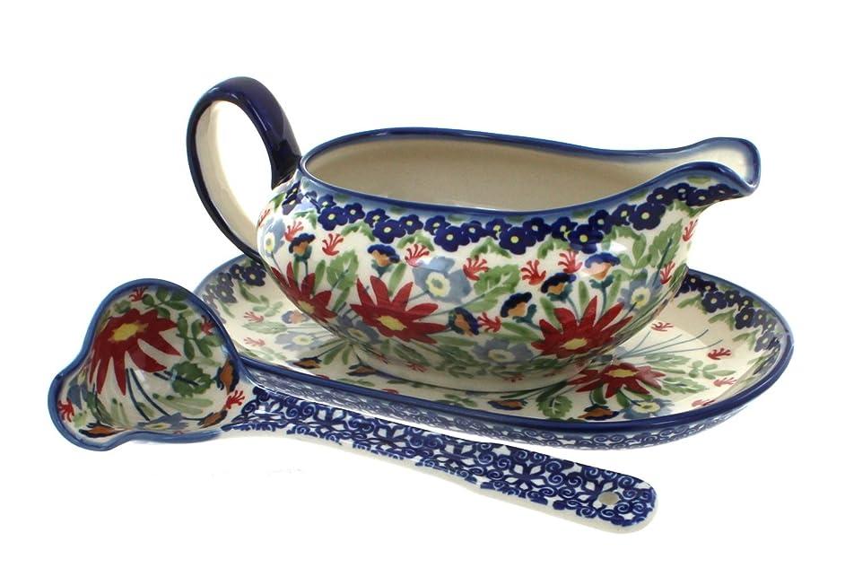 Blue Rose Polish Pottery Jungle Bouquet Gravy Boat & Ladle