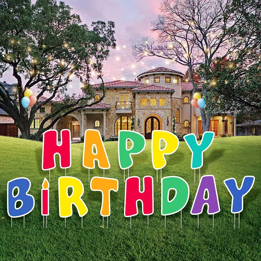 YEVIOR Happy Birthday Yard Attention brand Sign with Discount is also underway Letters 13 Stakes Pcs Birth