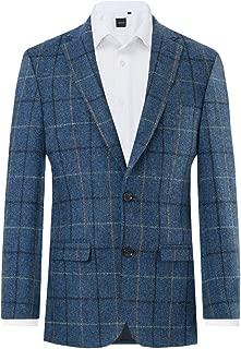 Mens Blue/Black Check Tweed Jacket Regular Fit 100% Wool