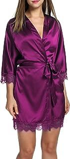 Hotouch Women's Bathrobes Short Satin Kimono Robes Bridesmaids Sleepwear with Oblique V-Neck S-XXL