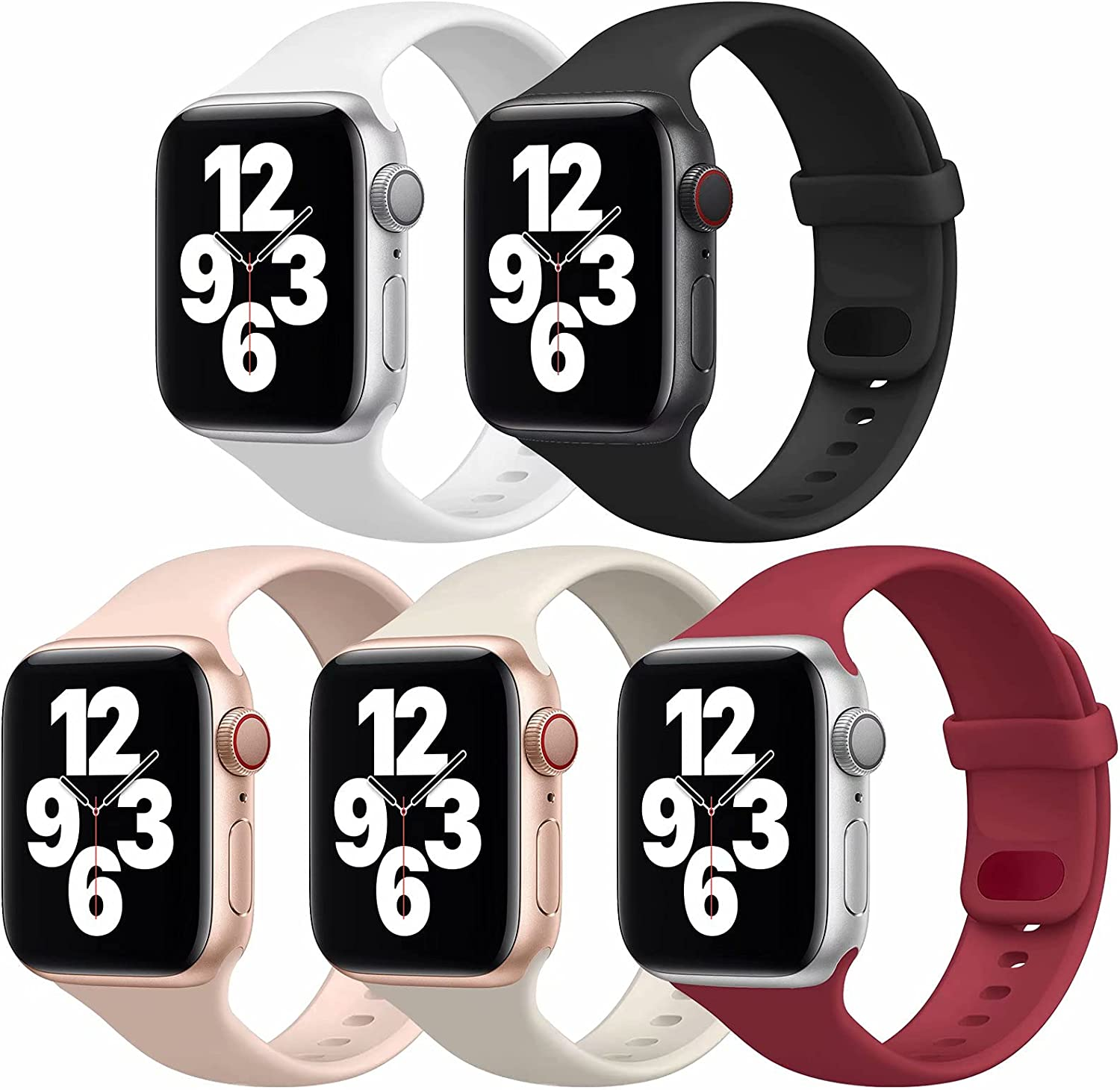 UHKZ 5 Pack Sport Bands Compatible with Apple Watch Bands 38mm 40mm, Soft Silicone Replacement Strap Women Men for iWatch Series SE/6/5/4/3/2/1,White/Black/Pink Sand/Fog/Wine Red,L