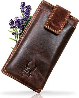 Corno d´Oro Monedero grande para mujer de piel con protección RFID I Vintage marrón con cremallera I Monedero largo en caj...