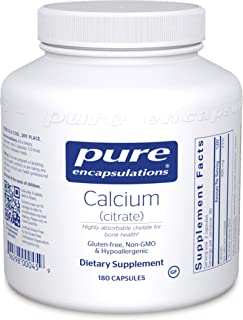 Pure Encapsulations Calcium (Citrate) | Supplement for Bones and Teeth, Colon Health, and Cardiovascular Support* | 180 Ca...