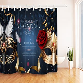 LB Cartel del Carnaval de Venecia/Dos máscaras con Diamantes,Anti Moho poliéster Cortina de Ducha,59