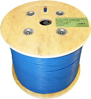Infinity Cable CAT6A Shielded CMR Riser 10G, 23AWG, F/UTP, 650MHz, Solid 100% Bare Copper, 1000 Feet, UL Certified, Bulk Ethernet Cable Reel, Blue