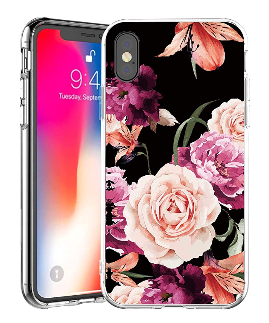 iPhone XS Case,IN4U Hard Back Flower Design Raised Edge Shockproof Snug Fit Clear TPU Bumper Cover for iPhone XS Case 5.8 INCH (Peony Floral)