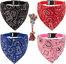 OFPUPPY Dog Bandana Collar Rope Toys - 4 Pack Pet Triangle Scarfs Collars with 1 Rope Toy for Puppy Cat